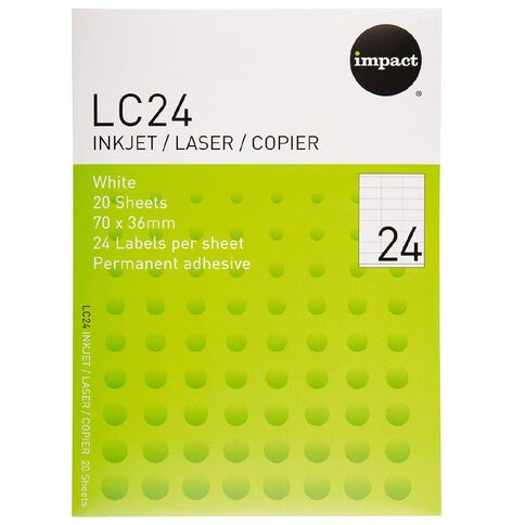 Impact Labels 20 Sheets A4/24 White