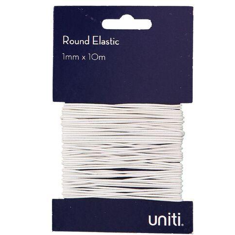 Uniti Elastic Round 1mm x 10m White