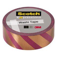 Scotch Washi Tape 15mm x 7m Foil Stripes Copper/Pink