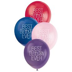 Unique Best Birthday Ever Balloons 30cm Assorted 8 Pack