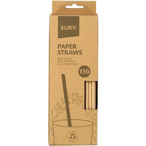 SURV. Eco Friendly Paper Straws 20cm Natural 150 Pack