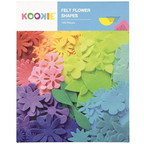 Kookie Flower Felt shapes Colour Box Multi-Coloured 100 Pack
