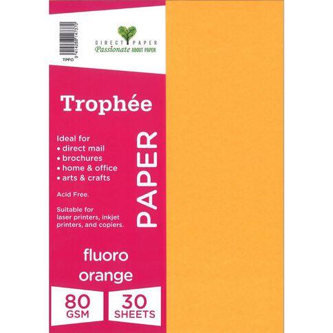 Trophee Paper 80gsm 30 Pack Fluoro Orange Orange A4