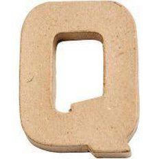 Paper Mache Alphabet Small Symbol Q 10cm Brown