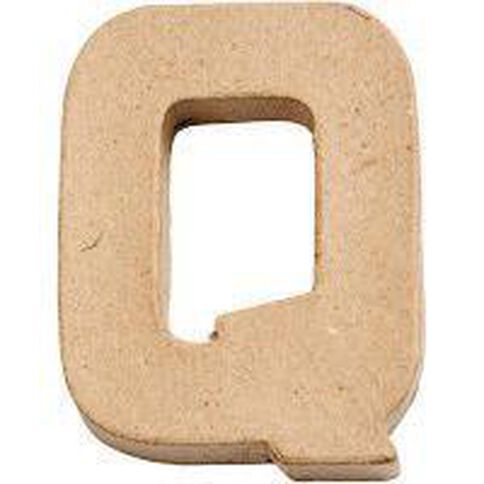 Paper Mache Alphabet Small Symbol Q 10cm Brown