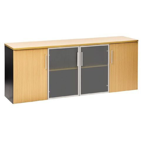Jasper J Emerge Credenza Wood/Glass Doors 1800 Beech/Ironstone