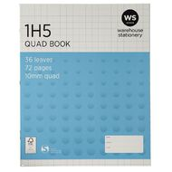 WS Exercise Book 1H5 10mm Quad 36 Leaf Blue