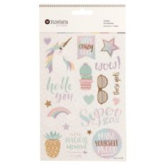 Rosie's Studio Foil Clear Stickers Pastel Pop Multi-Coloured