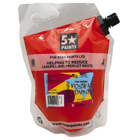 Fivestar Tempera Poster Paint Brilliant Red 1.5L Pouch
