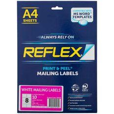 Reflex Round Glossy Labels 12/Sheet 10 Pack White
