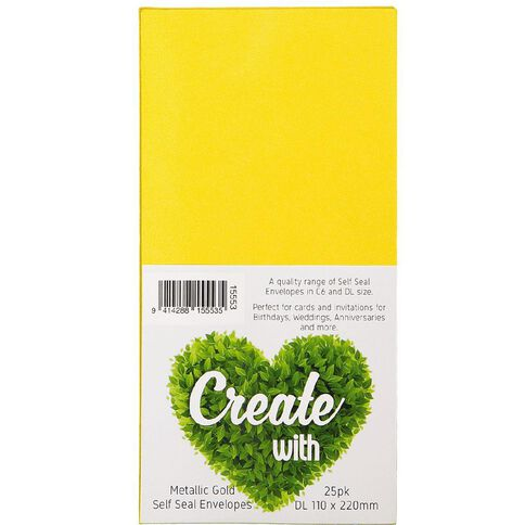 Create With DL Envelopes 25 Pack Metallic Gold