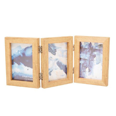 Photo Frame Plastic Wood Look 3 Fold 4x6 inch 14x19x6