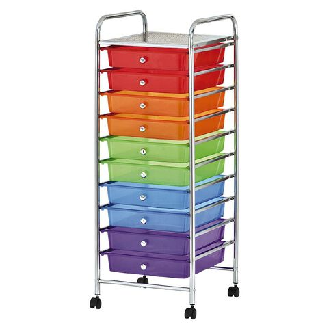 Workspace Chrome Trolley Multi-Coloured 10 Drawer