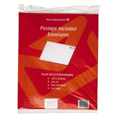 New Zealand Post Postage Included Envelope C4 5 Pack