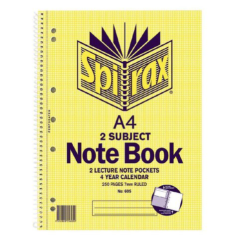 Spirax 2 Subject Notebook 605 250 Page Yellow A4