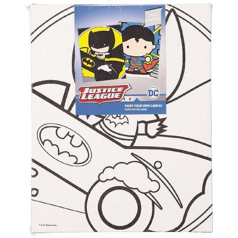 Justice League Paint Your Own Canvas 20cm x 25cm 2 Pack