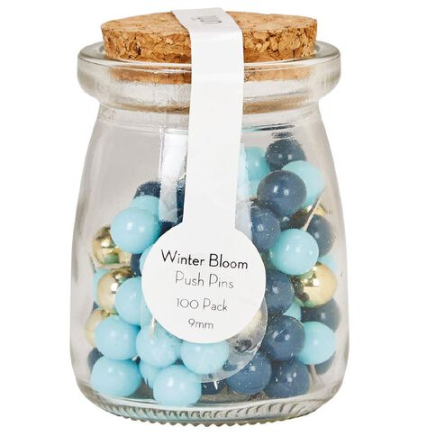 Uniti Winter Bloom Push Pins In Glass Jar 100 Pack