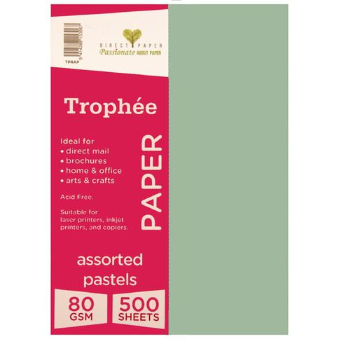 Trophee Paper 80gsm 500 Pack Pastels Assorted A4