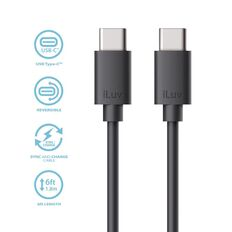 iLuv USB C to C Cable 1.8m Black