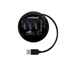 mbeat USB 3.0 3-Port Hub + Sd/Micro SD Card Reader Black