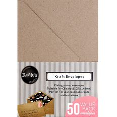 Rosie's Studio Envelopes C6 50 Pack Kraft Brown