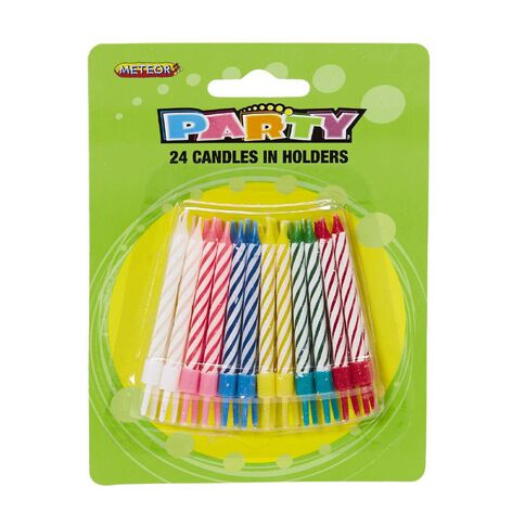 Meteor Birthday Candles In Holder 24 Pack Multi-Coloured
