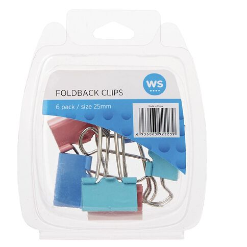 WS Foldback Clips 25mm 6 Pack Colour