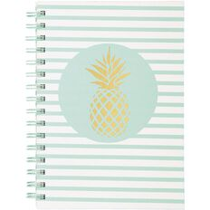 Uniti Tropical Gold Pineapple Spiral Notebook A5
