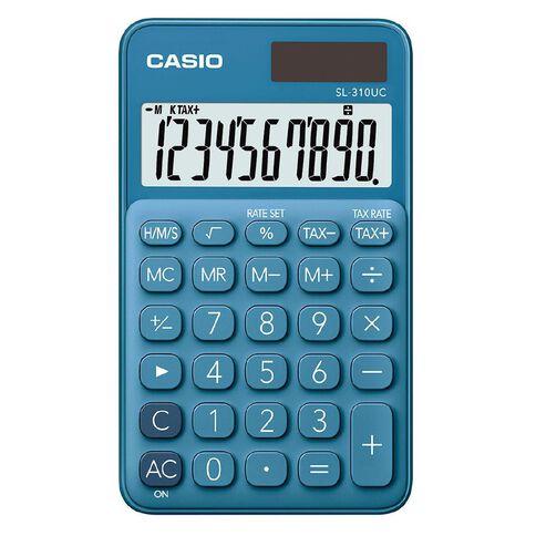 Casio SL310UCBU Hand Held 10 Digit Calculator Blue
