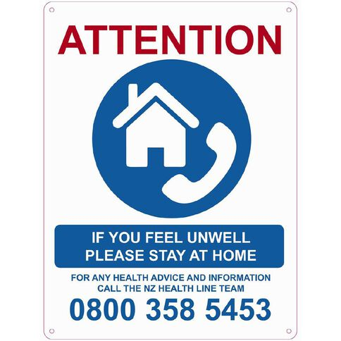 WS COVID Sign FEEL UNWELL STAY AT HOME