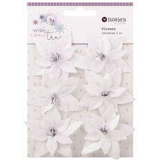 Rosie's Studio Wish Come True Glitter Flowers 6 Piece