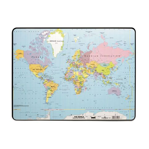 Durable World Map Desk Mat 530mm x 400mm Black