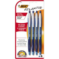 Bic Atlantis Ball Pen 4 Pack Blue