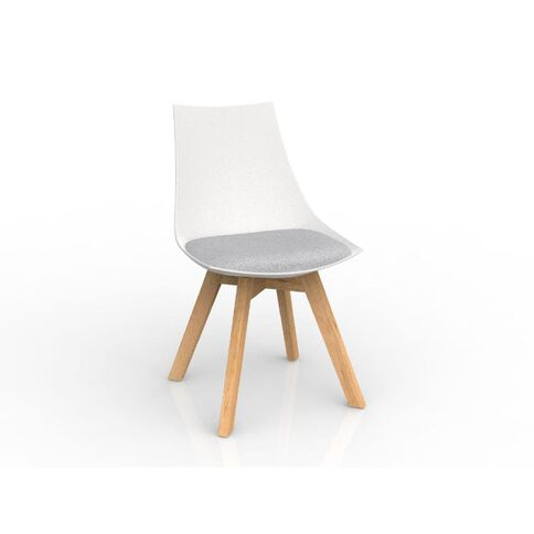Luna White Ash Oak Base Chair Grey