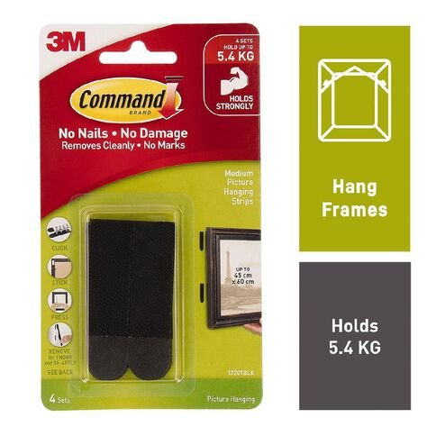 Command Picture Hanging Strips 4 Sets/Pack Black Medium