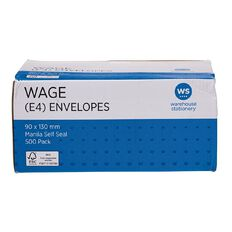 WS Envelope E4 Wage Self Seal 500 Pack Manilla