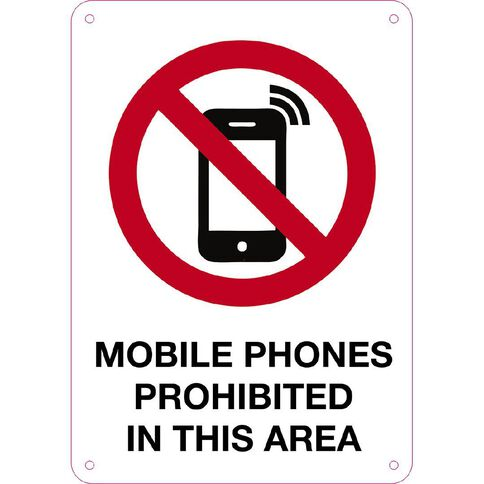 WS Mobile Phones Prohibited Sign Small 340mm x 240mm