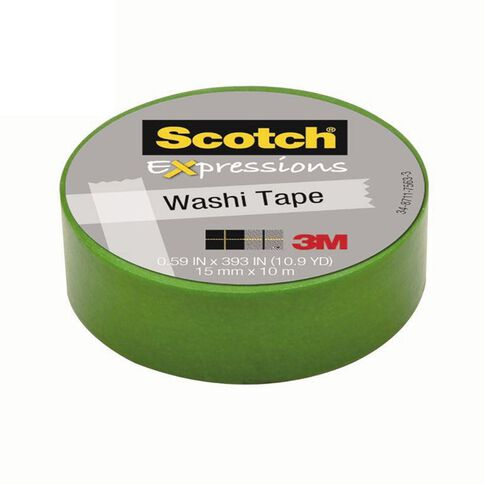 Scotch Washi Craft Tape 15mm x 10m Green