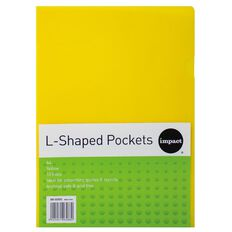 Impact L-Shaped Pockets 10 Pack Yellow A4