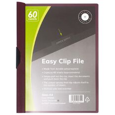 Office Supply Co Easy Clip File 60 Capacity Burgundy A4