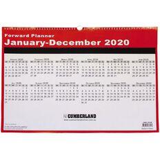 Cumberland 2020 Wall Planner 12 Months Wiro Red 530mm x 390mm