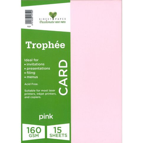 Trophee Card 160gsm 15 Pack Pink A4