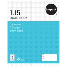Impact Exercise Book 1J5 5mm Quad 36 Leaf Blue