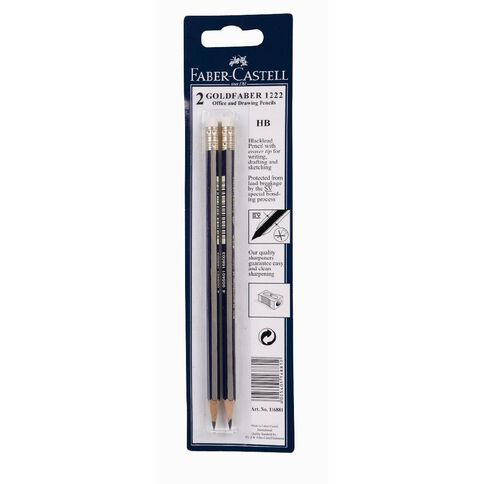 Faber-Castell Goldfaber 1222 HB with Eraser Drawing Pencil 2 Pack