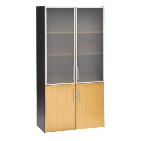 Jasper J Emerge Wood/Glass Doors Cupboard Beech/Ironstone
