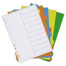 WS PP Dividers 10 Tab Multi-Coloured