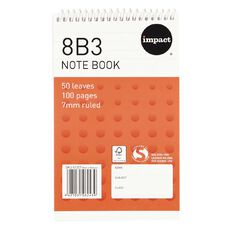 Impact Exercise Book 8B3 7mm Ruled 50 Leaf Wiro Red
