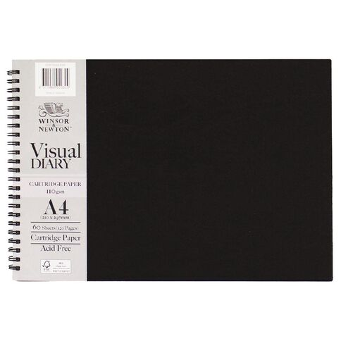 Winsor & Newton Visual Diary Landscape 110gsm A4 60 Sheets Black