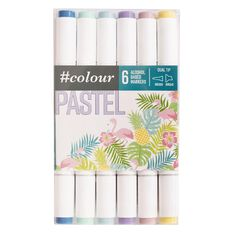 #colour Double Ended Markers Set 6 Pastels Multi-Coloured