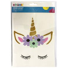 Kookie Iron on Transfer Stickers Unicorn Face 1 Sheet